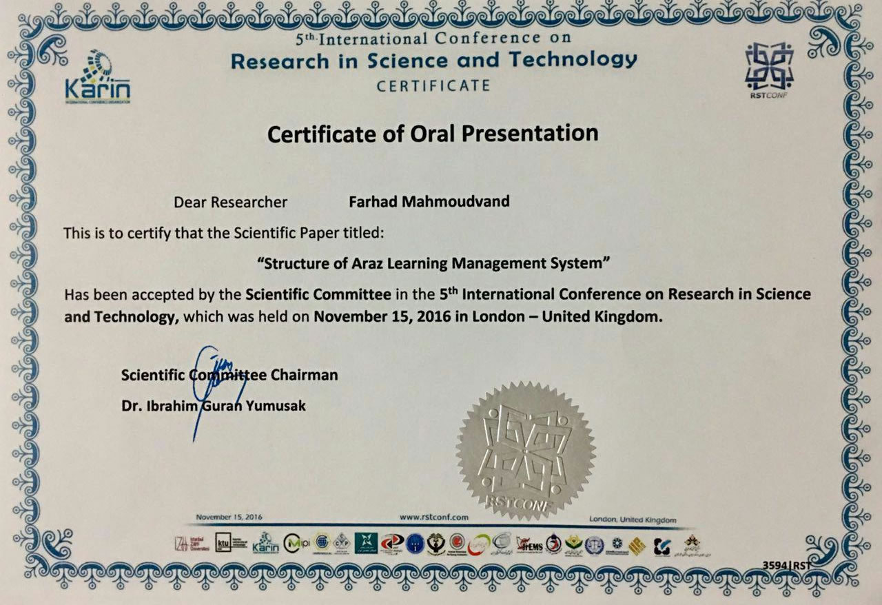 Farhad Mahmoudvand - 5th International Conference On Research in Science and Technology (London – United Kingdom)